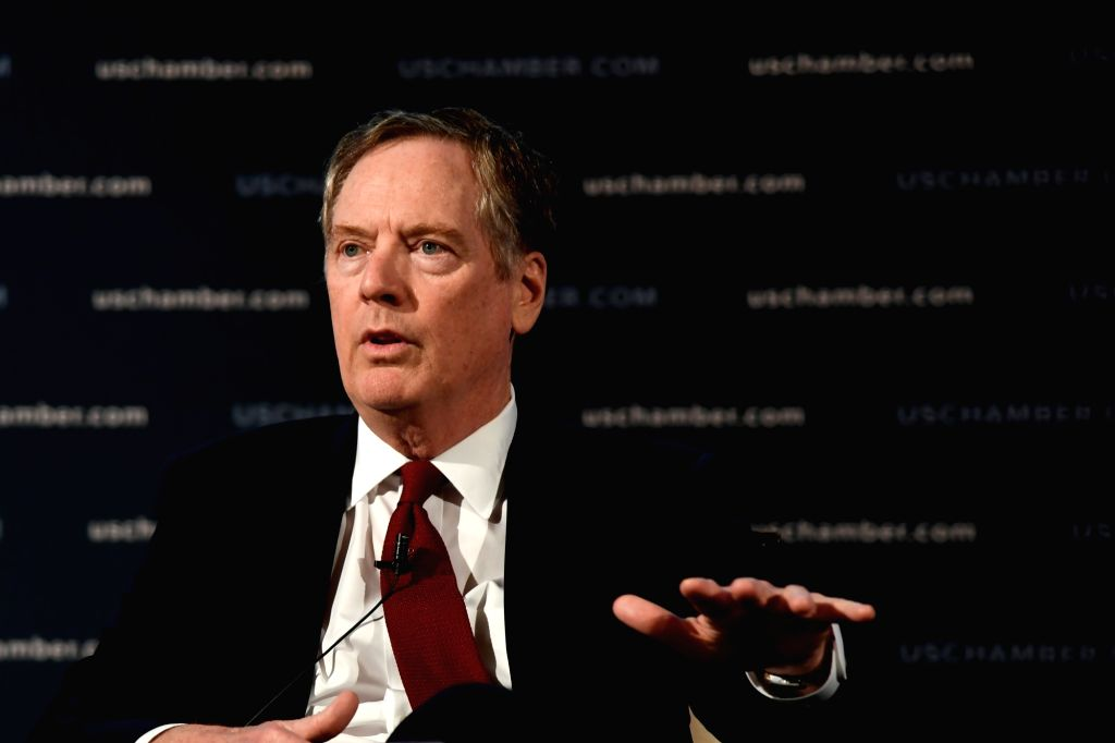 WASHINGTON D.C., May 3, 2018 (Xinhua) -- U.S. Trade Representative (USTR) Robert Lighthizer speaks at an event hosted by the U.S. Chamber of Commerce in Washington D.C., the United States, on May 1, 2018. Lighthizer said on Tuesday that he hoped to r