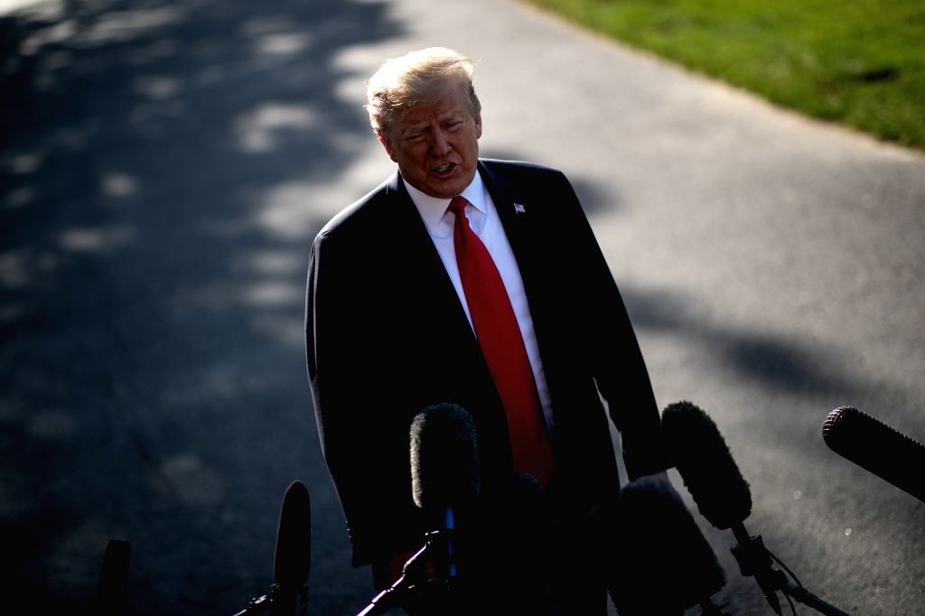 """WASHINGTON D.C., May 30, 2019 (Xinhua) -- U.S. President Donald Trump speaks to reporters before leaving the White House in Washington D.C., the United States, on May 30, 2019. Donald Trump slammed Special Counsel Robert Mueller as """"highly conflicted"""