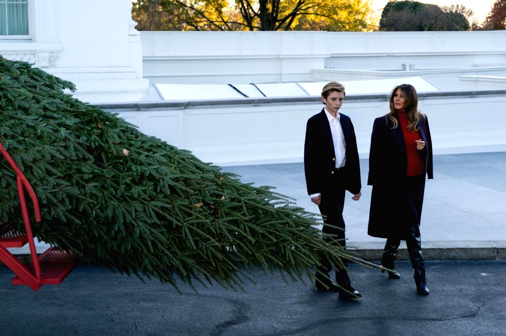 WASHINGTON D.C., Nov. 21, 2017 (Xinhua) -- U.S. First Lady Melania Trump and her son Barron Trump receive the official White House Christmas Tree at the North Portico of the White House in Washington D.C. Nov. 20, 2017. (Xinhua/Shen Ting/IANS)