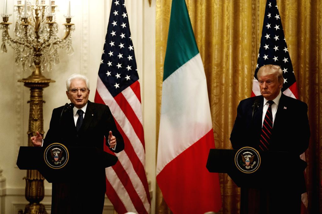 WASHINGTON D.C., Oct. 16, 2019 - U.S. President Donald Trump (R) and visiting Italian President Sergio Mattarella attend a joint press conference at the White House in Washington D.C., the United ...
