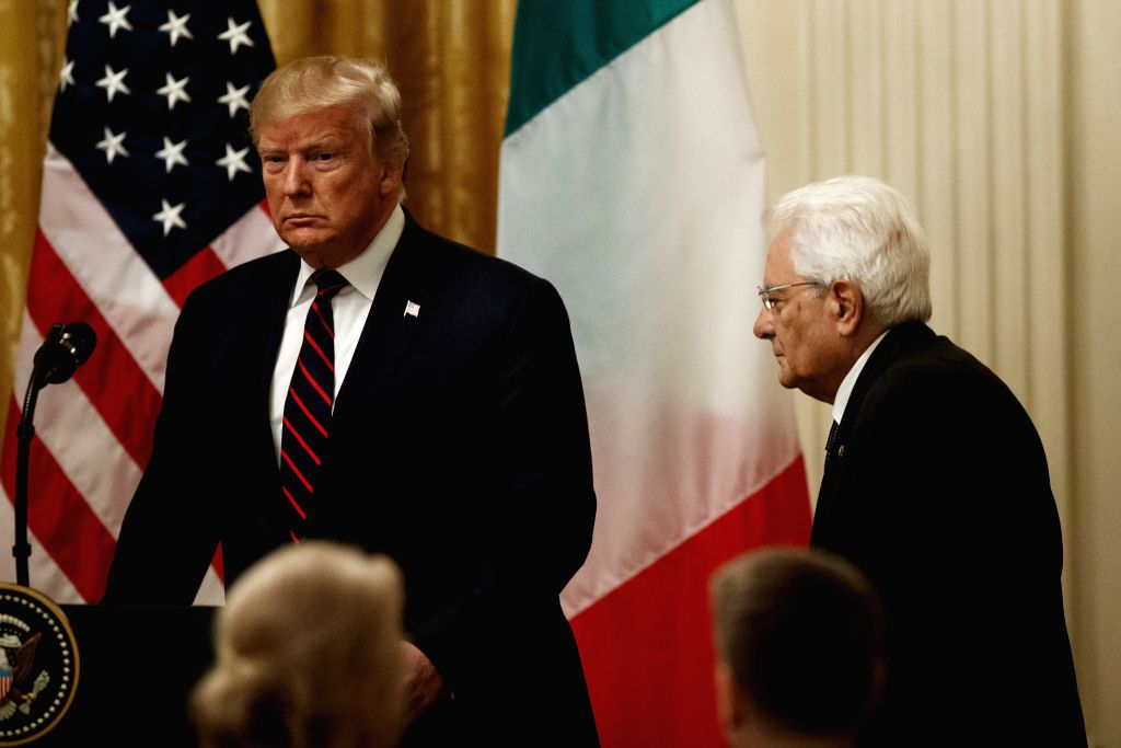 WASHINGTON D.C., Oct. 16, 2019 - U.S. President Donald Trump (L) and visiting Italian President Sergio Mattarella arrive to attend a joint press conference at the White House in Washington D.C., the ...