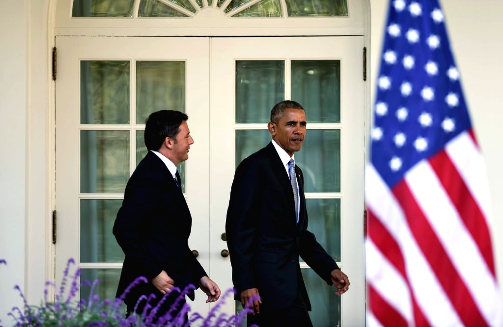 WASHINGTON D.C., Oct. 18, 2016 - U.S. President Barack Obama (R) and visiting Italian Prime Minister Matteo Renzi  arrive for a joint press conference at Rose Garden at White House in Washington ... - Matteo Renzi