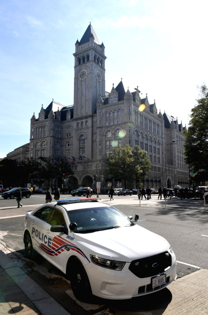WASHINGTON D.C., Oct. 26, 2016 - A police car is seen near the Trump International Hotel during the opening and ribbon cutting ceremony in Washington, D.C., the United States on Oct. 26, 2016.