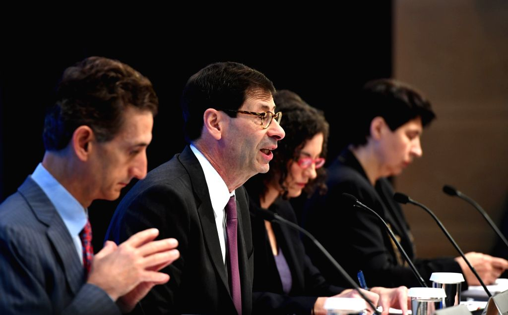 WASHINGTON D.C., Oct. 4, 2016 - Maurice Obstfeld (2nd L), chief economist at the International Monetary Fund (IMF), attends a press briefing at the IMF headquarters in Washington D.C., the United ...