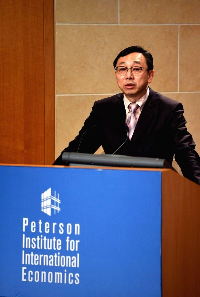 WASHINGTON D.C., Oct. 5, 2016 - International Monetary Fund (IMF) deputy managing director Zhang Tao speaks at the Peterson Institute for International Economics in Washington D.C., the United ... - Zhang Tao