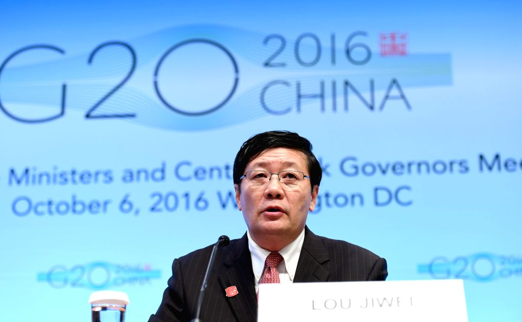 WASHINGTON D.C., Oct. 7, 2016 - Chinese Finance Minister Lou Jiwei speaks at a press conference on G20 Finance Ministers and Central Bank Governors Meeting at the headquarters of International ... - Lou Jiwei