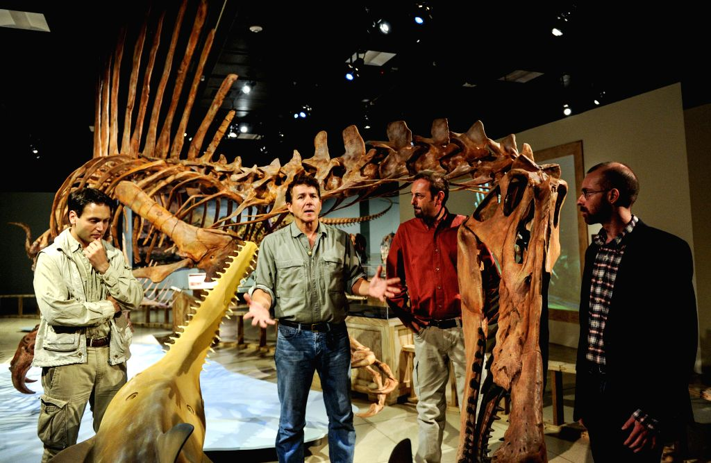 Paleontologist Paul Sereno (L 2nd) from the University of Chicago interprets the structure of the head of Spinosaurus aegyptiacus during an exhibition ...