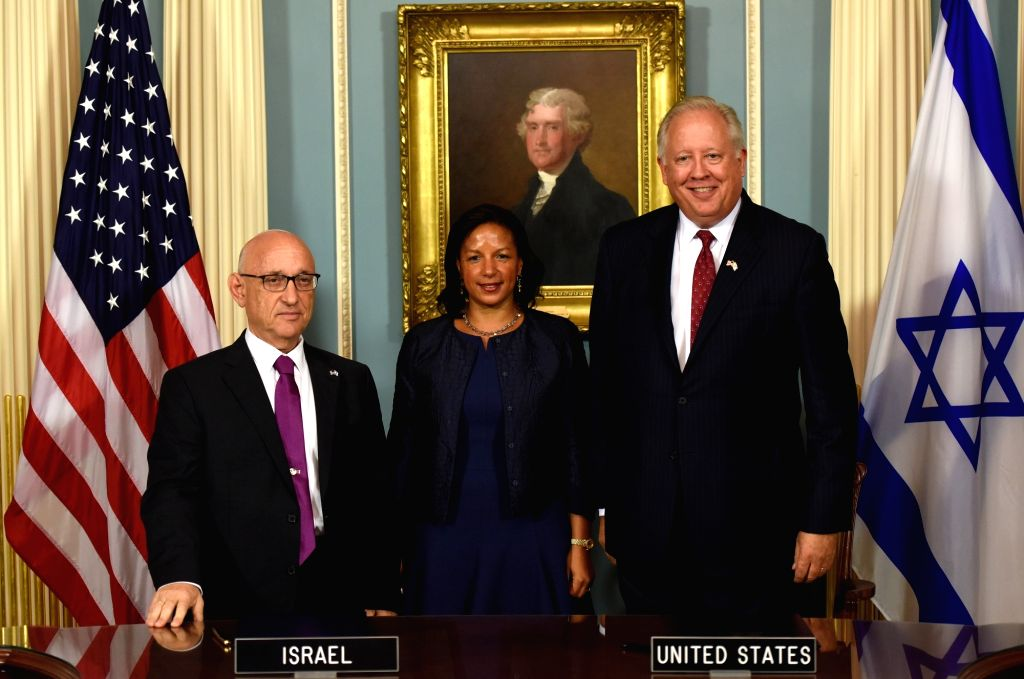 WASHINGTON D.C., Sept. 15, 2016 - U.S. Under Secretary of State Thomas Shannon (R), Israel's acting national security advisor Jacob Nagel (L) and U.S. President Barack Obama's national security ...