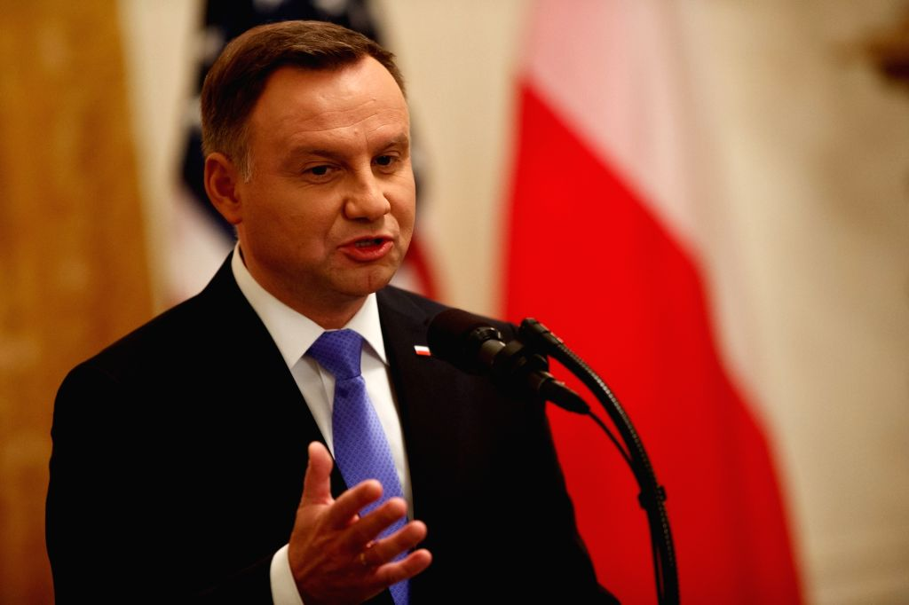 WASHINGTON D.C., Sept. 19, 2018 - Polish President Andrzej Duda addresses a joint press conference with U.S. President Donald Trump (unseen) at the White House in Washington D.C. Sept. 18, 2018. ...