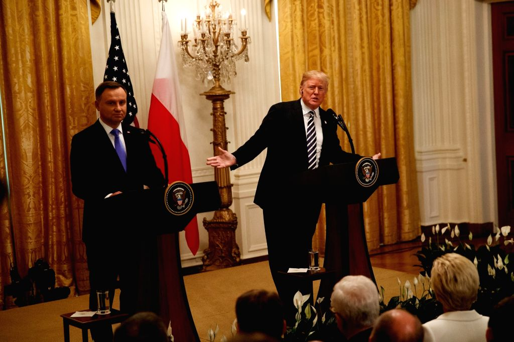 WASHINGTON D.C., Sept. 19, 2018 - U.S. President Donald Trump (R) and visiting Polish President Andrzej Duda attend a joint press conference at the White House in Washington D.C. Sept. 18, 2018. ...