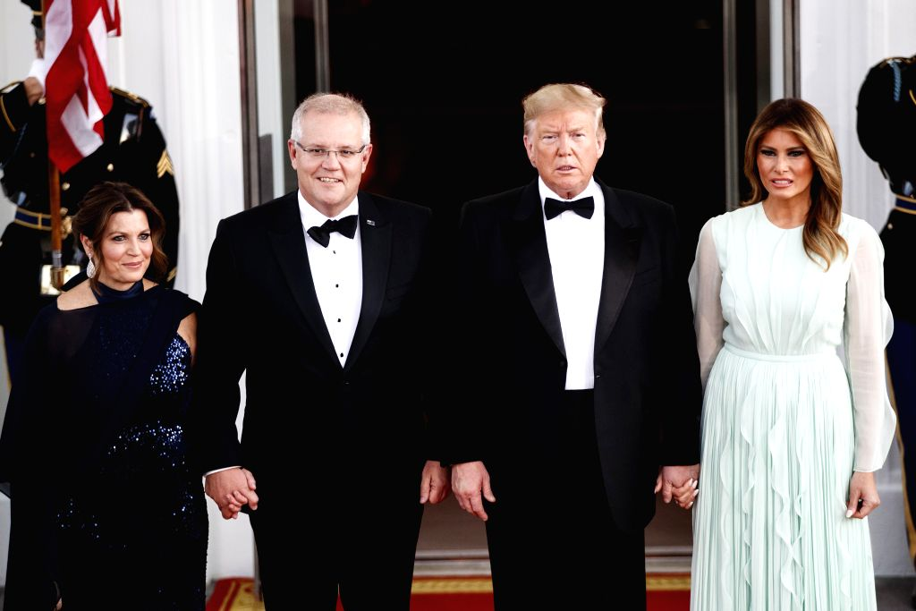 WASHINGTON D.C., Sept. 21, 2019 - U.S. President Donald Trump (2nd R, front) and first lady Melania Trump (1st R, front) welcome Australian Prime Minister Scott Morrison and his wife Jenny Morrison ... - Scott Morrison