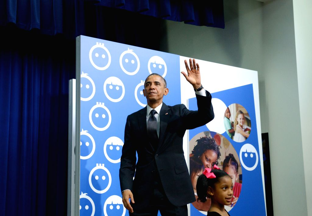 Washington D.C: U.S. President Barack Obama leaves after speaking at a White House Summit on early childhood education in the South Court Auditorium of the Eisenhower Executive Office Building, next .