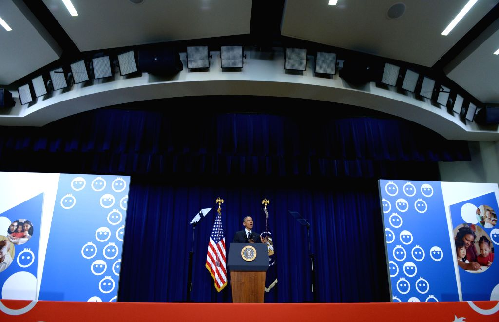 Washington D.C: U.S. President Barack Obama speaks during a White House Summit on early childhood education in the South Court Auditorium of the Eisenhower Executive Office Building, next to the ...