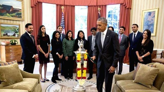 Washington D.C.: US President Barack Obama celebrates Diwali at White House's Oval Office in Washington, D.C., US. (Photo courtesy:The White House/Facebook)