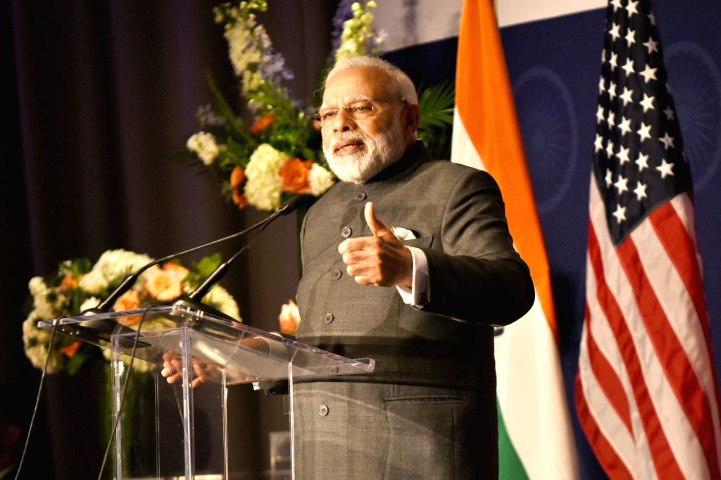 Washington DC: Prime Minister Narendra Modi addresses at the Indian Community Reception, in Washington DC, USA on June 25, 2017. - Narendra Modi