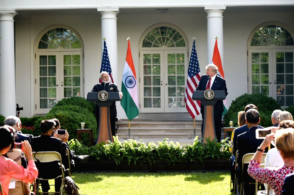 Washington DC: Prime Minister Narendra Modi and President of United States of America (USA) Donald Trump during Joint Press Statement, at White House, in Washington DC, USA on June 26, 2017. - Narendra Modi