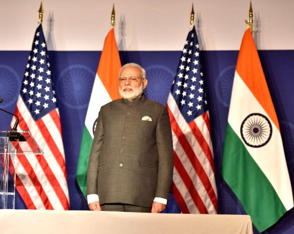 Washington DC: Prime Minister Narendra Modi at the Indian Community Reception, in Washington DC, USA on June 25, 2017. - Narendra Modi