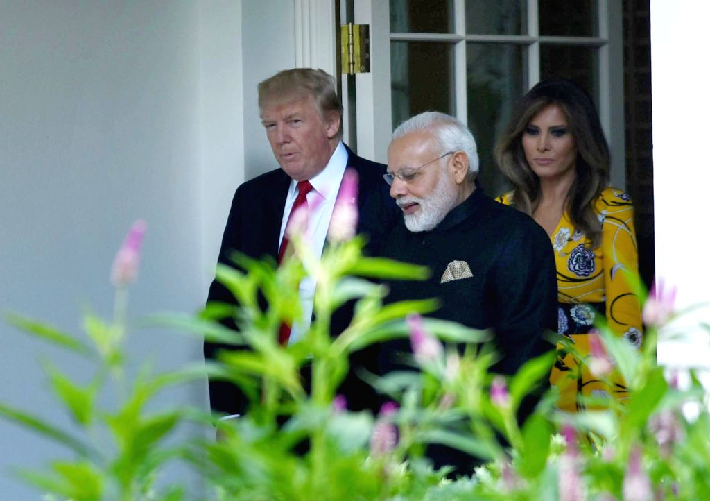 Washington DC:  Prime Minister Narendra Modi meets President of United States of America (USA) Donald Trump, at White House, in Washington DC, USA on June 26, 2017. Also seen First Lady Melania Trump. - Narendra Modi