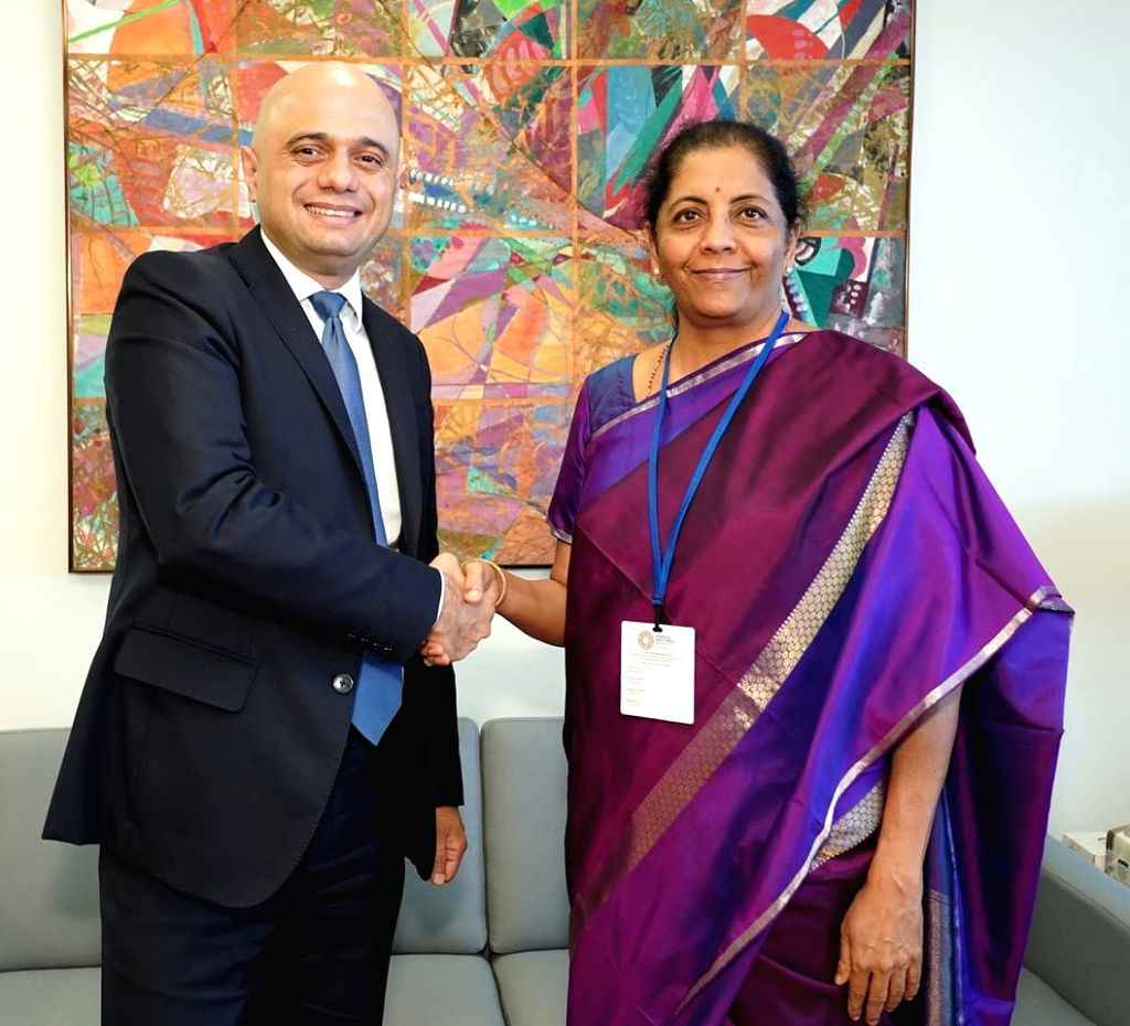 Washington DC: Union Finance and Corporate Affairs Minister Nirmala Sitharaman meets the Chancellor of Exchequer, United Kingdom, Sajid Javid on the sidelines of - Nirmala Sitharaman
