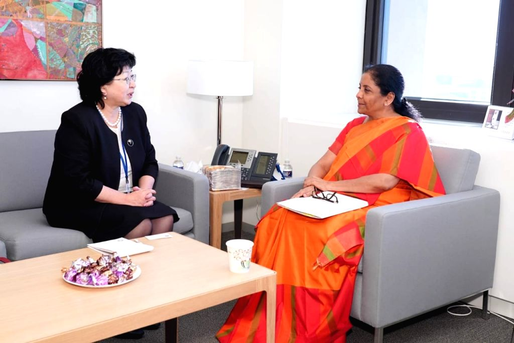 Washington DC: Union Finance and Corporate Affairs Minister Nirmala Sitharaman during a bilateral meeting with Kyrgyz Finance Minister Baktygul Jeenbaewa on the sidelines of the IMF-WB Annual ... - Nirmala Sitharaman