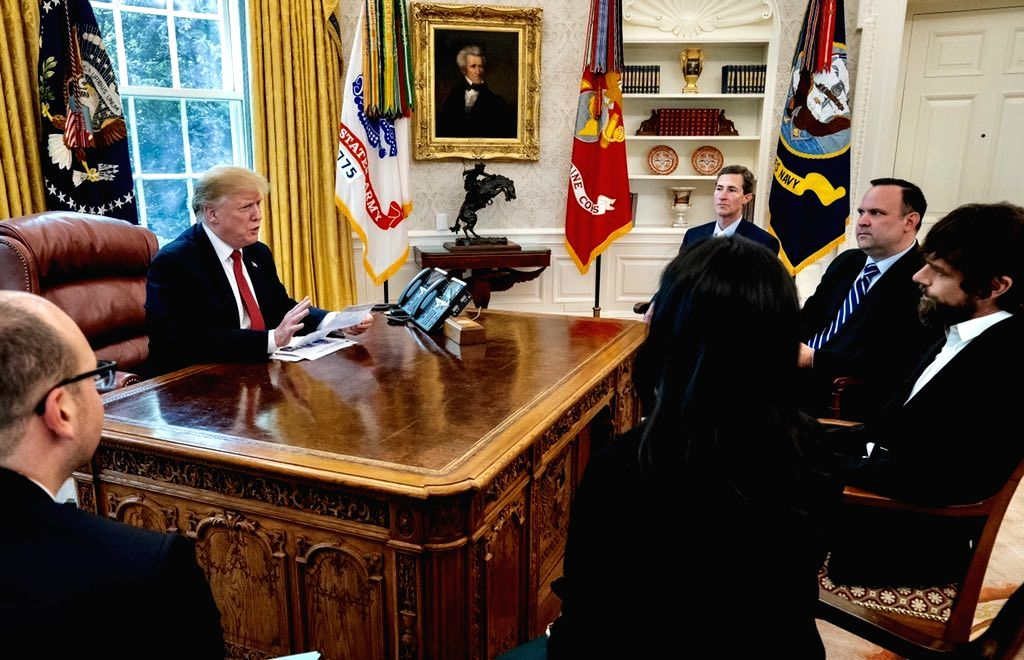Washington, DC : US President Donald Trump meets Twitter CEO Jack Dorsey at the White House in Washington, DC. (Photo Courtesy: @realdonaldtrump /Twitter)