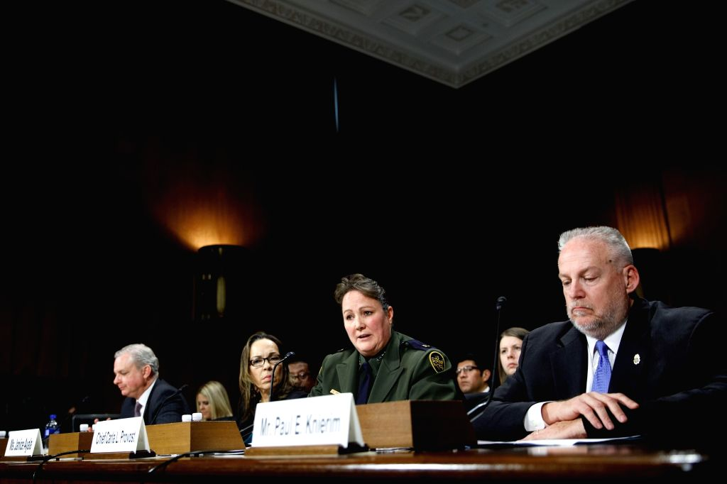 """WASHINGTON, Dec. 12, 2018 - Chief of U.S. Border Patrol Carla L. Provost (C) testifies on """"Narcos: Transnational Cartels and Border Security"""" before the Subcommittee on Border Security and ..."""