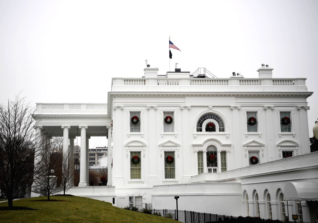 WASHINGTON, Dec. 13, 2019 (Xinhua) -- Photo taken on Dec. 13, 2019 shows the White House in Washington D.C., the United States. After a two-day marathon debate, the U.S. Democrat-led House Judiciary Committee on Friday passed both articles of impeach