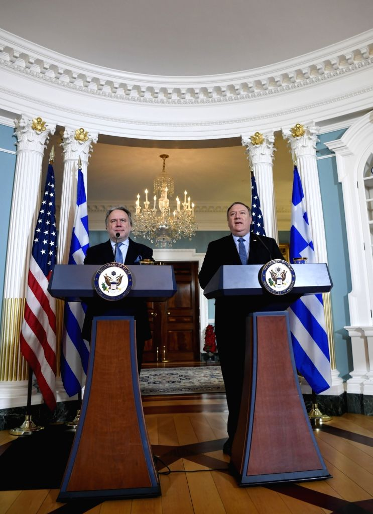 WASHINGTON, Dec. 14, 2018 - U.S. Secretary of State Mike Pompeo (R) and Greek Acting Foreign Minister George Katrougalos hold a joint press conference at the State Department in Washington D.C., the ... - George Katrougalos