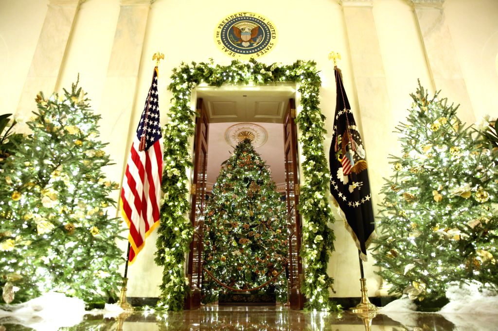 WASHINGTON, Dec. 2, 2019 - Christmas decorations are seen at the White House during the 2019 Christmas Press Preview in Washington D.C., the United States, on Dec. 2, 2019.