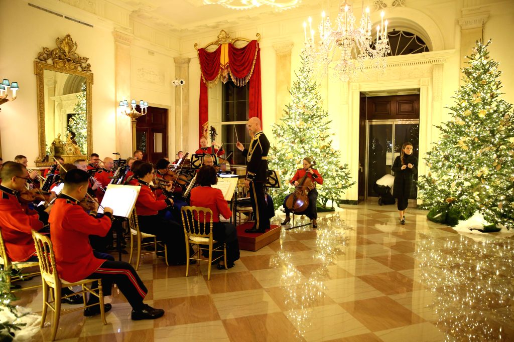 WASHINGTON, Dec. 2, 2019 - Members of the U.S. Marine Band perform during the press preview of the White House Christmas decorations at the White House in Washington D.C., the United States, on Dec. ...