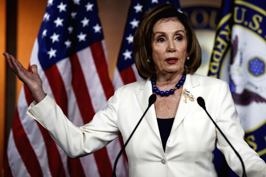 WASHINGTON, Dec. 5, 2019 - U.S. House Speaker Nancy Pelosi speaks during a press conference on Capitol Hill in Washington D.C., the United States, on Dec. 5, 2019. Nancy Pelosi has greenlighted the ... - Nancy Pelosi
