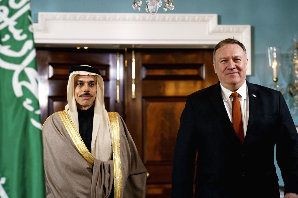WASHINGTON, Feb. 12, 2020 (Xinhua) -- U.S. Secretary of State Mike Pompeo (R) meets with Saudi Foreign Minister Faisal bin Farhan Al Saud in Washington D.C., the United States, on Feb. 12, 2020. (Photo by Ting Shen/Xinhua/IANS) - Faisal