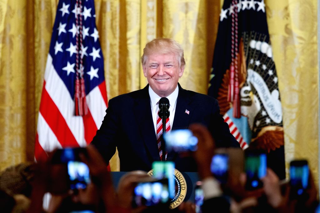 WASHINGTON, Feb. 14, 2018 - U.S. President Donald Trump speaks during a National African American History Month reception at the White House in Washington D.C., the United States, Feb. 13, 2018.