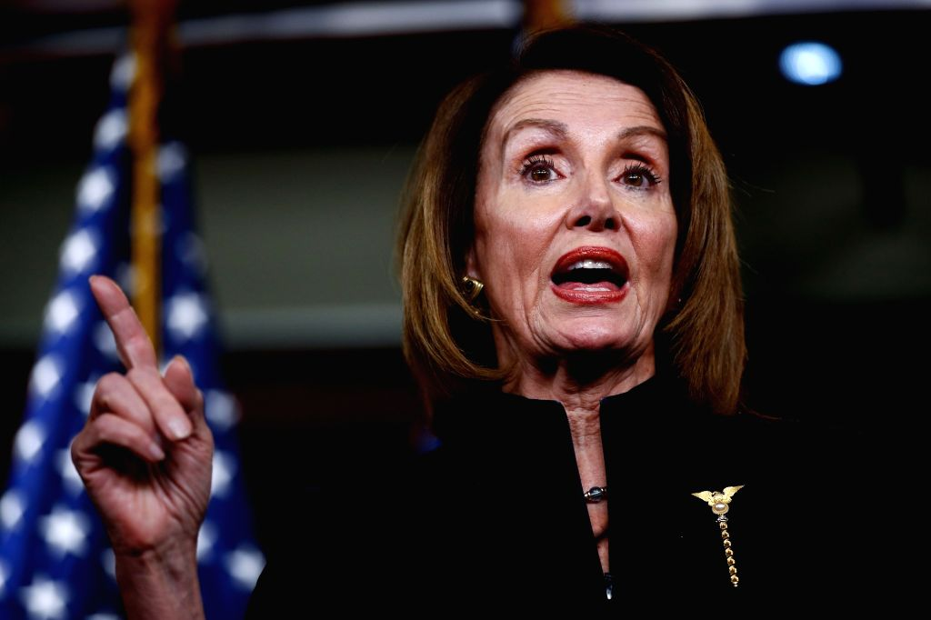 WASHINGTON, Feb. 14, 2019 (Xinhua) -- U.S. House Speaker Nancy Pelosi speaks during a press conference on Capitol Hill in Washington D.C., the United States, on Feb. 14, 2019. U.S. President Donald Trump is prepared to sign a bipartisan bill on spend - Nancy Pelosi
