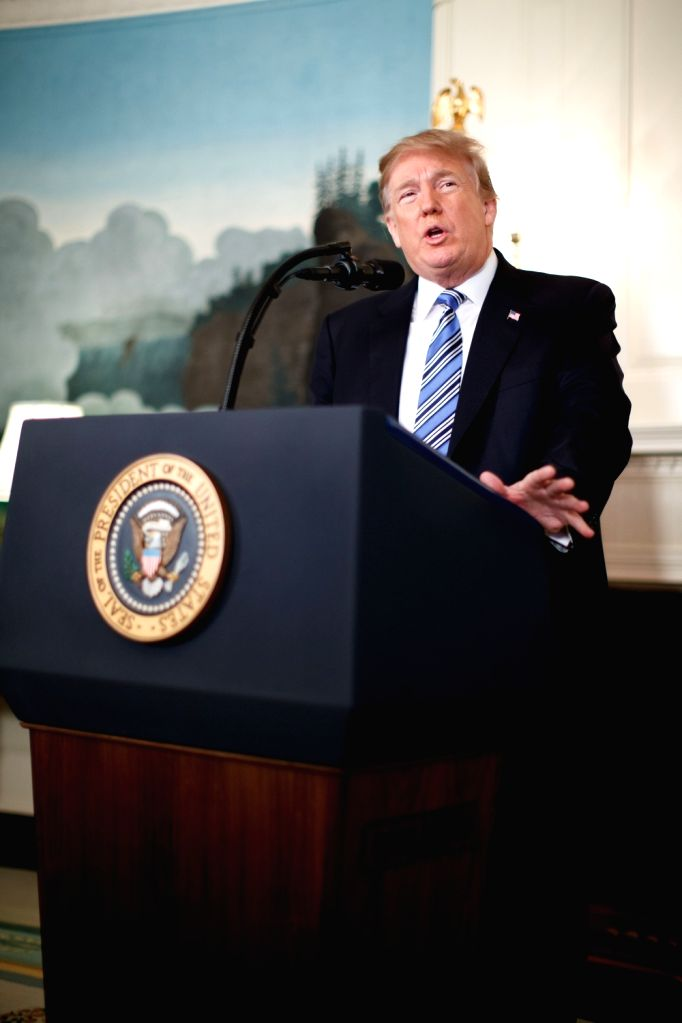 WASHINGTON, Feb. 15, 2018 - U.S. President Donald Trump speaks in a national address regarding the mass shooting in Parkland, Florida, at the White House in Washington D.C., the United States, on ...