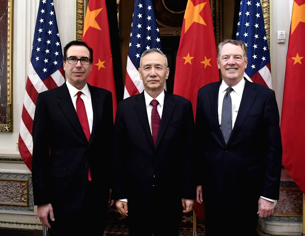 WASHINGTON, Feb. 21, 2019 (Xinhua) -- Chinese Vice Premier Liu He (C), who also comes as the special envoy of Chinese President Xi Jinping, U.S. Trade Representative Robert Lighthizer (R) and Treasury Secretary Steven Mnuchin co-chair the formal open