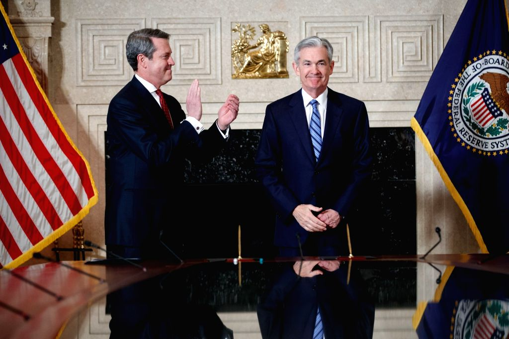 WASHINGTON, Feb. 5, 2018 - Jerome Powell (R) takes the oath of office as Chairman of the U.S. Federal Reserve, succeeding Janet Yellen, in Washington, the United States. on Feb 5, 2018.
