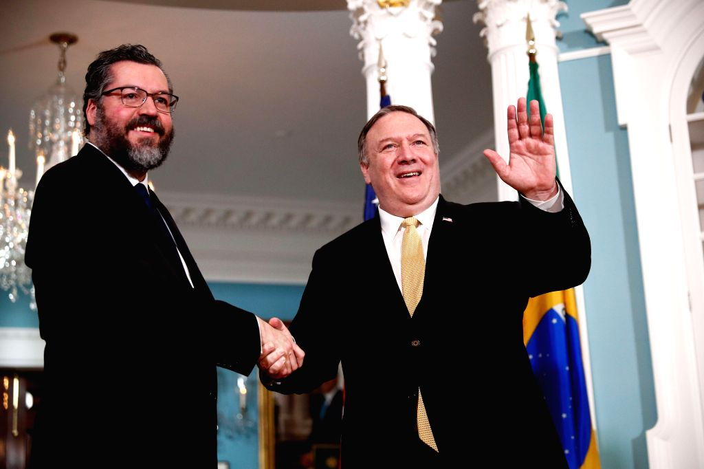 WASHINGTON, Feb. 6, 2019 - U.S. Secretary of State Mike Pompeo (R) meets with visiting Brazilian Foreign Minister Ernesto Araujo at the Department of State in Washington D. C., the United States, on ... - Ernesto Araujo