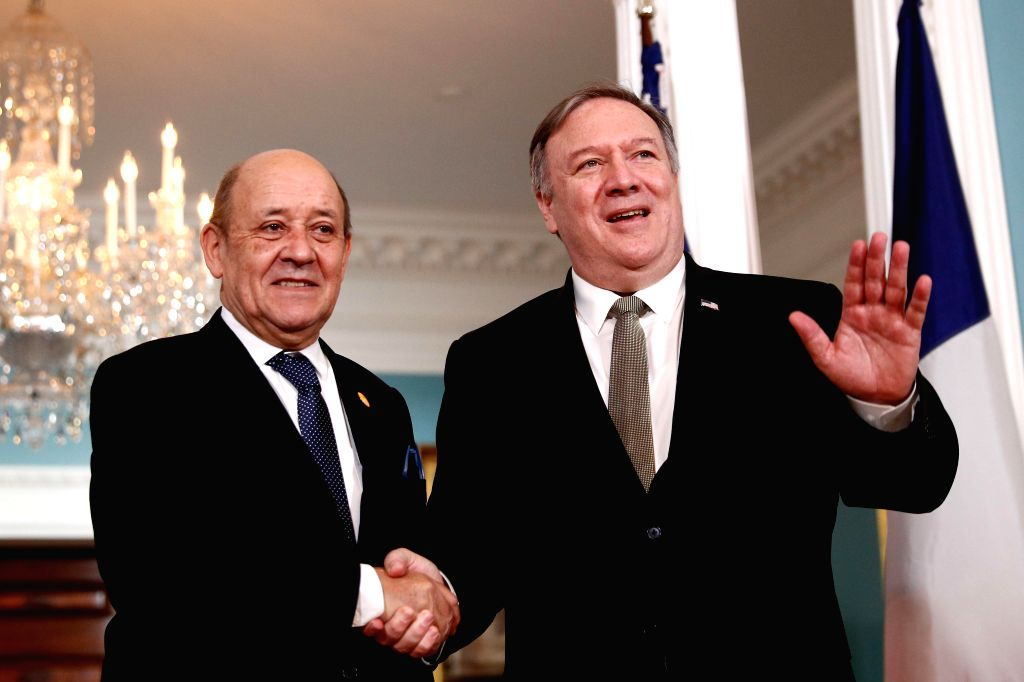 WASHINGTON, Feb. 6, 2019 - U.S. Secretary of State Mike Pompeo (R) meets with visiting French Foreign Minister Jean-Yves Le Drian at the Department of State in Washington D. C., the United States, on ... - Jean-Yves L