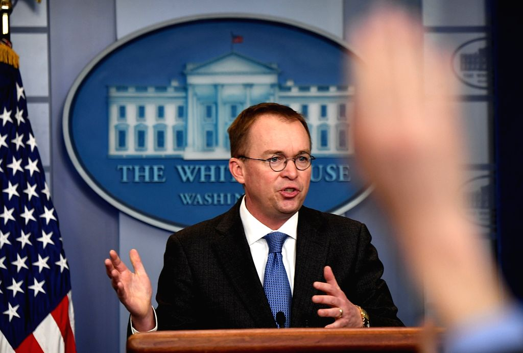 WASHINGTON, Jan. 19, 2018 (Xinhua) -- White House Office of Management and Budget Director Mick Mulvaney speaks during a briefing on a possible government shutdown at the White House in Washington D.C., the United States, on Jan. 19, 2018. White Hous