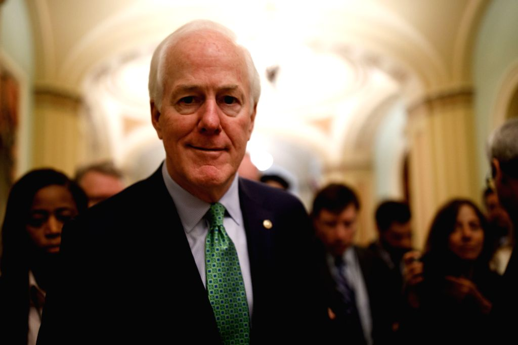 WASHINGTON, Jan. 22, 2018 - U.S. Senate Majority Whip John Cornyn heads to the Senate Chamber before a vote to end government shutdown on Capitol in Washington D.C., the United States, on Jan. 22, ...