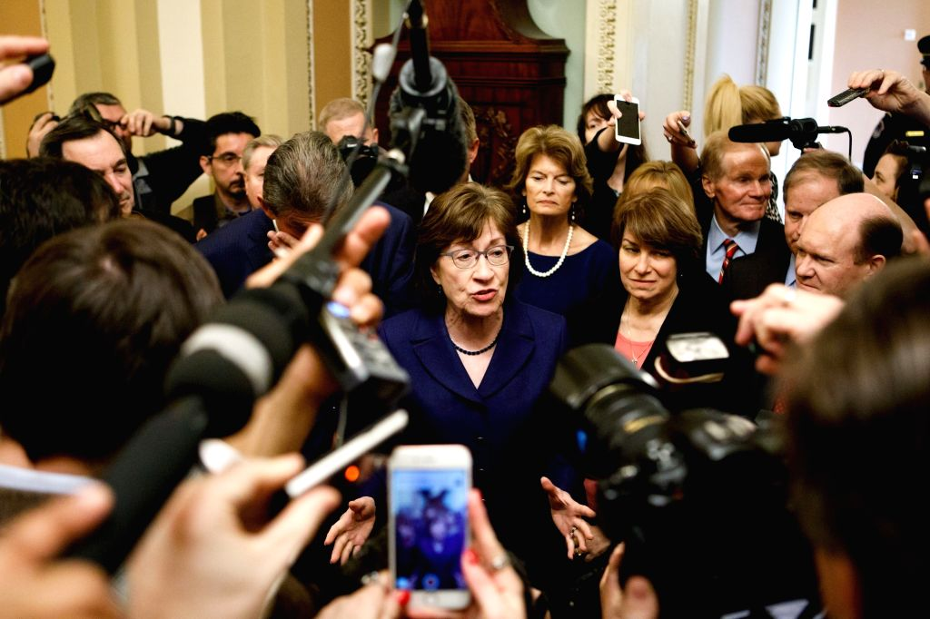 WASHINGTON, Jan. 22, 2018 - U.S Senator Susan Collins (C) answers questions from reporters before a vote to end government shutdown on Capitol in Washington D.C., the United States, on Jan. 22, 2018. ...