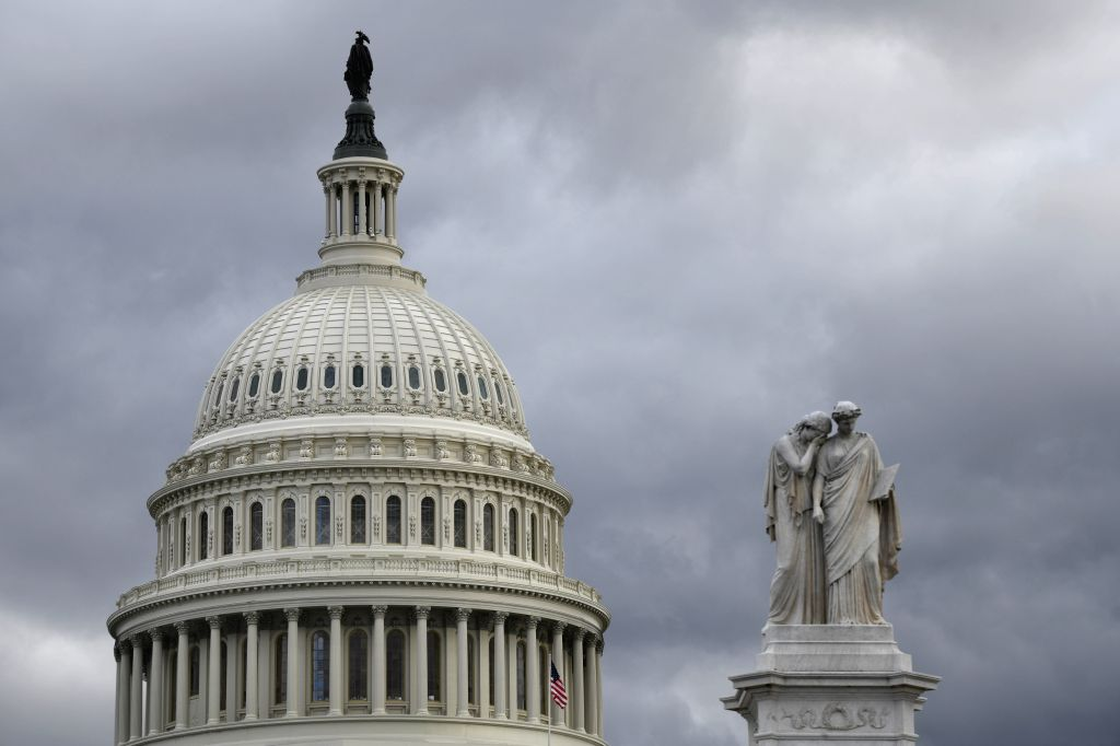 WASHINGTON, Jan. 24, 2019 (Xinhua) -- Capitol Hill is seen in Washington D.C., the United States, on Jan. 24, 2019. A Democrat-backed bill to temporarily open the U.S. government without funding a border wall requested by the White House failed to pa