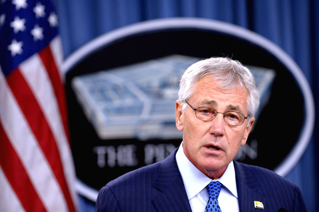 U.S. Secretary of Defense Chuck Hagel speaks at a press briefing after meeting with Japanese Defense Minister Itsunori Onodera at the Pentagon in Washington ...