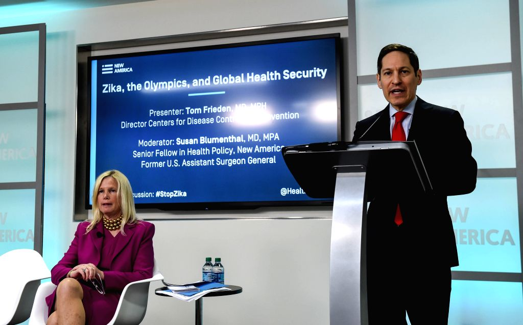 WASHINGTON, July 14, 2016 - Director of the U.S. Centers for Disease Control and Prevention (CDC) Tom Frieden (R) speaks during a discussion on Zika, the Olympics and Global Health Security in ...