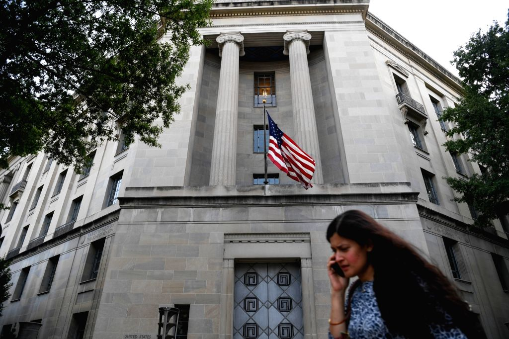 WASHINGTON, July 14, 2018 - Photo taken on July 13, 2018 shows the U.S. Department of Justice headquarters building in Washington D.C., the United States. U.S. Special Counsel Robert Mueller on ...