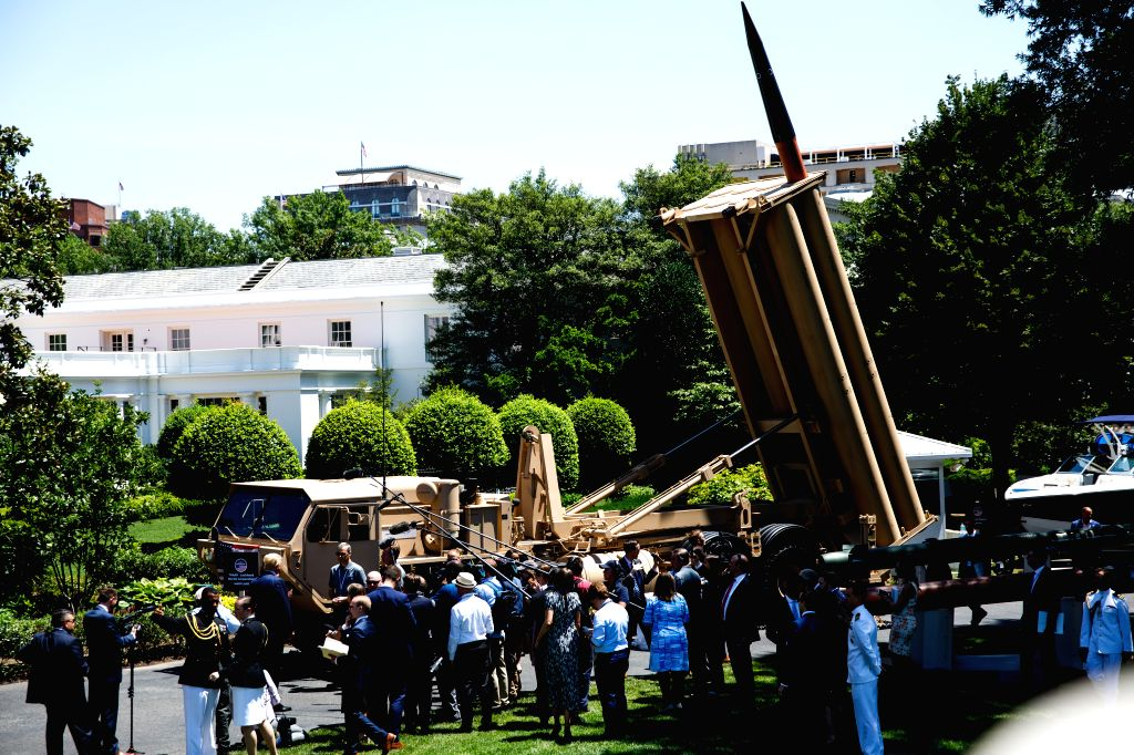 WASHINGTON, July 15, 2019 - The Lockeed Martin's THAAD missile defense system is seen during the 3rd annual Made in America product showcase at the White House in Washington D.C., the United States, ...