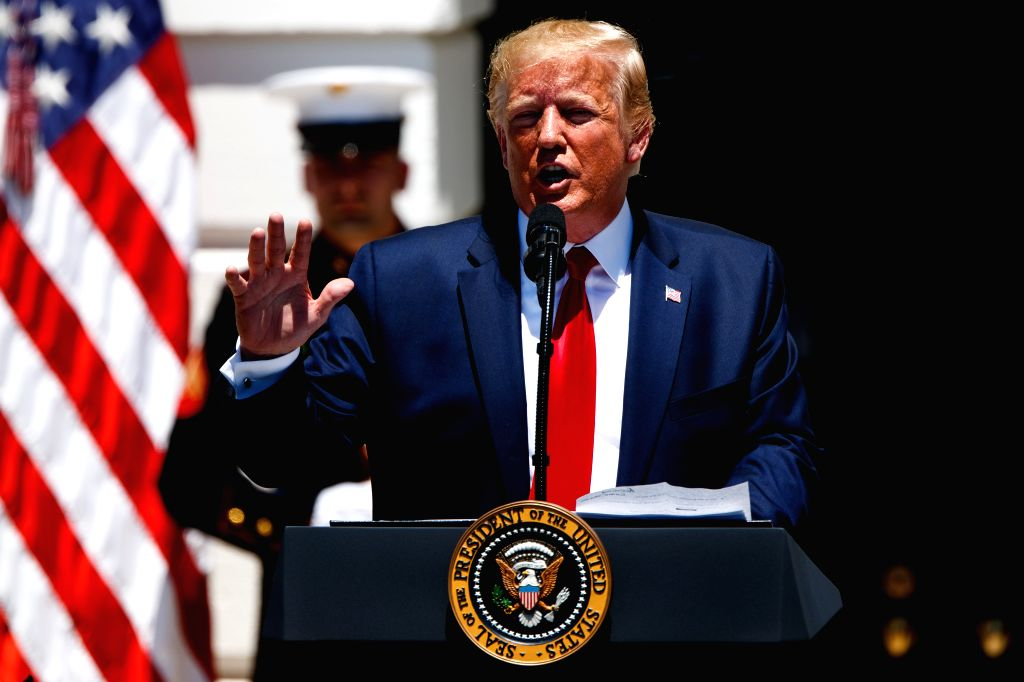 WASHINGTON, July 15, 2019 - U.S. President Donald Trump speaks during the 3rd annual Made in America product showcase at the White House in Washington D.C., the United States, July 15, 2019. Donald ...