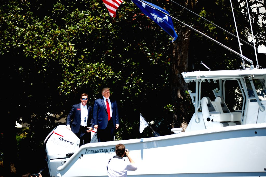 WASHINGTON, July 15, 2019 - U.S. President Donald Trump (R, rear) tours a boat during the 3rd annual Made in America product showcase at the White House in Washington D.C., the United States, July ...