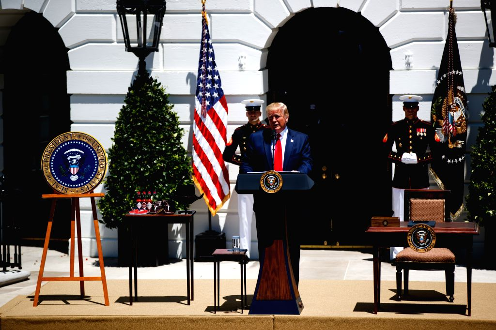 WASHINGTON, July 15, 2019 - U.S. President Donald Trump (front) speaks during the 3rd annual Made in America product showcase at the White House in Washington D.C., the United States, July 15, 2019. ...